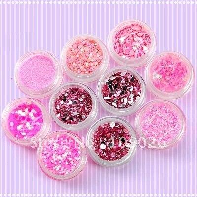 10 розовый цвет серии украшения блестки моды порошок устройство для очищения от пыли дизайн ногтей