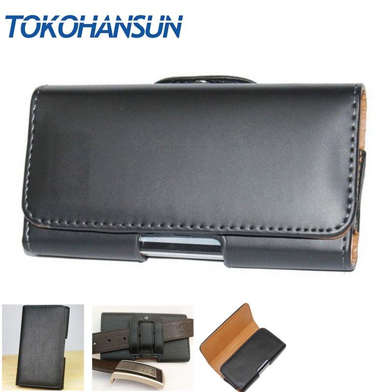 TOKOHANSUN For Huawei Y6 Pro 2017 Dual SIM Phone Bag Mobile Cover Belt Clip Case Black Color PU Leather Pouch