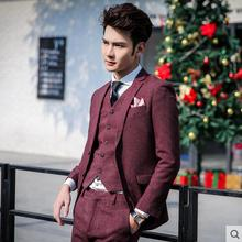 M-XXL 2017 The groom wedding dress suit men's clothing casual Korean youth slim suit three sets formal dress singer costumes