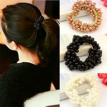 Hot Women Hair Accessories Pearls Beads Headbands Ponytail Holder Girls Scrunchies Vintage Elastic Hair Bands Rubber Rope(China)