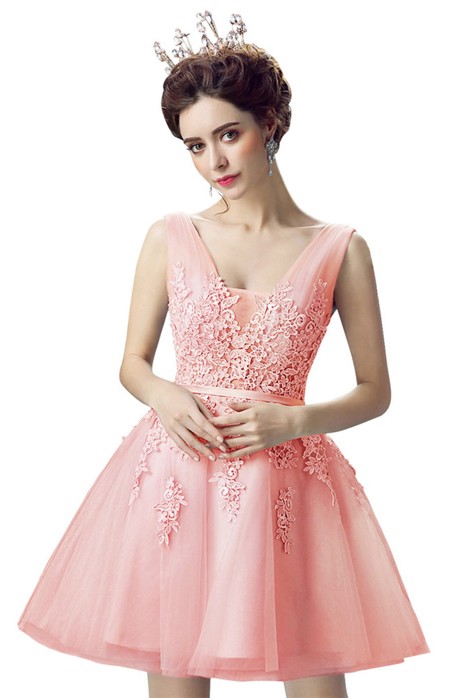 b4a2bbd88fb73f 2019 Pink Short Prom Dresses Sexy V Neck Sleeveless Lace Applique Gown  vestidos de gala-in Prom Dresses from Weddings & Events