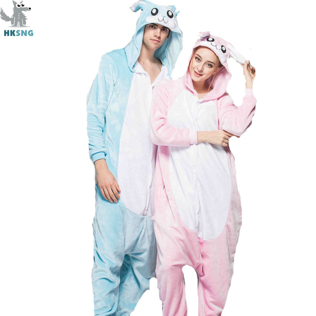 3894a2a30c HKSNG Pink Blue Bunny Rabbit Kigurumi Winter Adult Animal Cartoon Cute  Christmas Pajamas Family Onesies Cosplay
