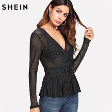83bfb98aa2 SHEIN Sexy Blouse Women Deep V Neck Slim Fit Long Sleeve Blouse Black  Striped Ruffle Hem Glitter Mesh Peplum Blouse