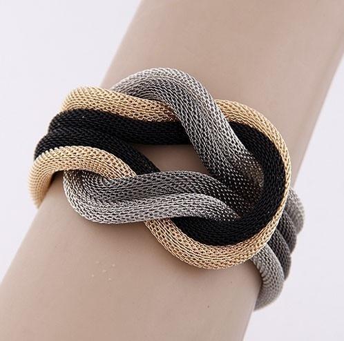 New Vintage Design Elegantly Simple Weave Hollow Cross Rope Punk Metal Hemp Weave Bracelet & Bangle Women Fine Jewelry D174