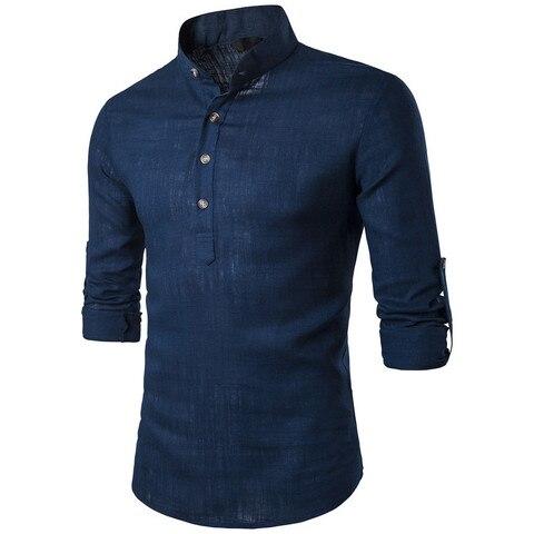 ZOGAA Men Long Sleeve Shirts Men Business Undershirt Men Stand Collar Shirts Male Slim Pure Color Shirts 2019 New Karachi