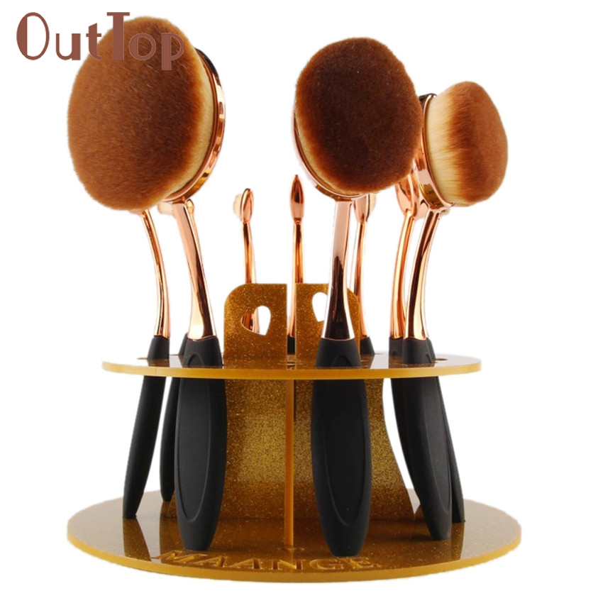 Levert Dropship 10 Hole Oval Makeup Brush Holder Drying Rack Organizer Cosmetic Shelf Tool 0324B 5Up easy install brush drying rack tree for different standard holes random color