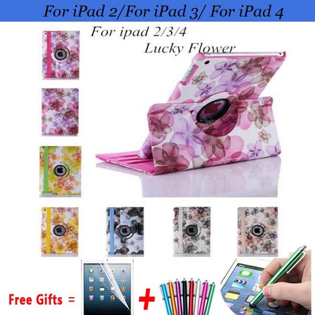 Цветок Чехол для iPad 2 Case 360 Вращающийся Pu Кожаные Чехлы для iPad 3 Случай Протектора для iPad 4 Крышка 9.7 ''с Подставкой Держатель