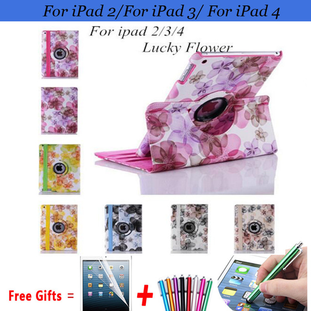 Flower Cover for iPad 2 Case 360 Rotating Pu Leather Cases for iPad 3 Protector Case for iPad 4 Cover 9.7'' with Stand Holder
