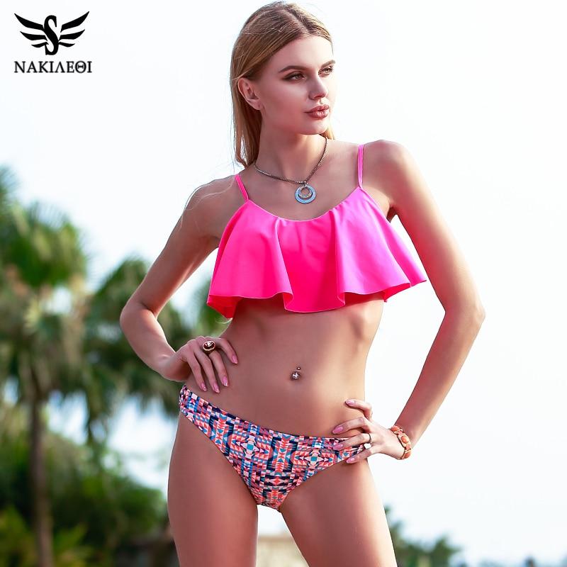 NAKIAEOI 2018 New Sexy Bikinis Women Swimsuit Push Up Swimwear Bandage Print Brazilian Bikini Set Ruffle Bathing Suits Swim Wear