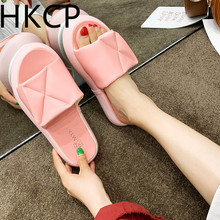 HKCP 2019 European station new style platform slipper women summer wear open toe shoes outside C275