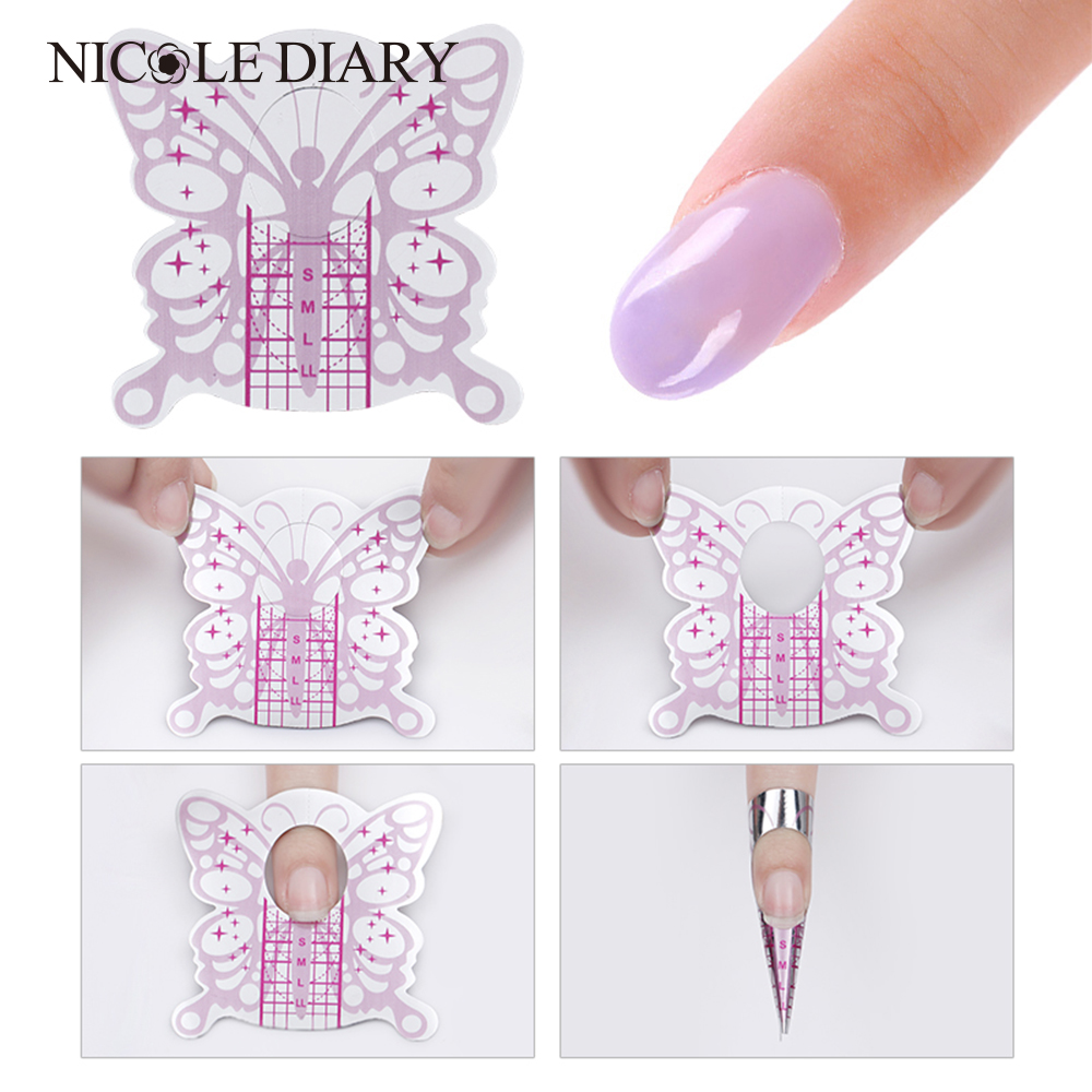 100Pcs Butterfly Shape Adhesive Nail Form For UV Gel Nail Tips Extension Manicure Builder Gel Nail Art Assistant Tool 1 roll 10m clear nail double side nail adhesive tape strips tips transparent manicure nail art tool
