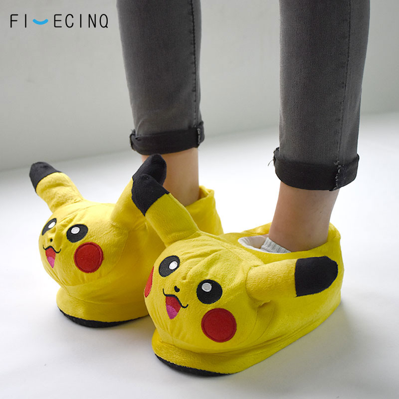 Pika Slippers Yellow Anime Pokemons Cosplay Festival Cute Non-Slip Shoes Couple Kawaii Cartoon Woman Sneakers Birthday Gift