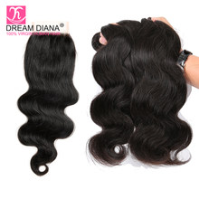 Dream Diana Burmese Bodywave 3 Bundels With Closure Lace Closure With Bundles 100% Human Hair Body Wave Bundles With Closure(China)