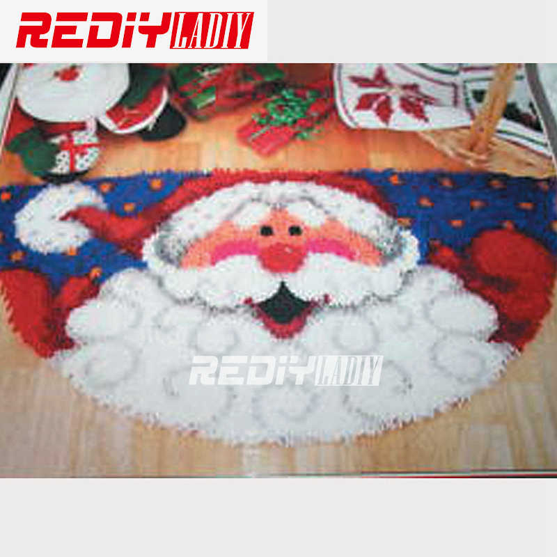 Latch Hook Rug Kits Acrylic Yarn Cushion DIY Carpet Rug Santa Clause Pre-Printed Canvas Floor Mat Home Decor Tapestry Unfinished