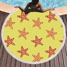Starfish Dolphin Seahorse Printed Round Beach Towel Microfiber Adults Bath Summer Travel Sport Yoga Mat Toalla