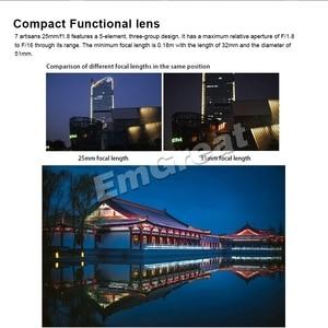 Image 3 - 7 artesãos 25mm/f1.8 lente principal para montagem e/para câmeras fujifilm a7 a7ii a7r a7rii X A1 X A10 X A2 + capa de lente de metal ventilado