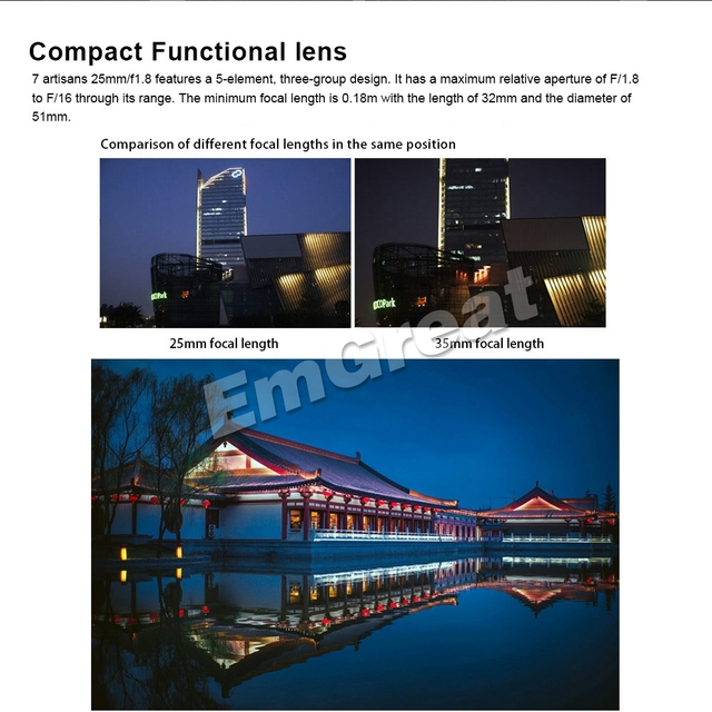 7artisans 25mm / F1.8 Prime Lens for E Mount / for Fujifilm Cameras A7 A7II A7R A7RII X-A1 X-A10 X-A2 + Vented Metal Lens Hood