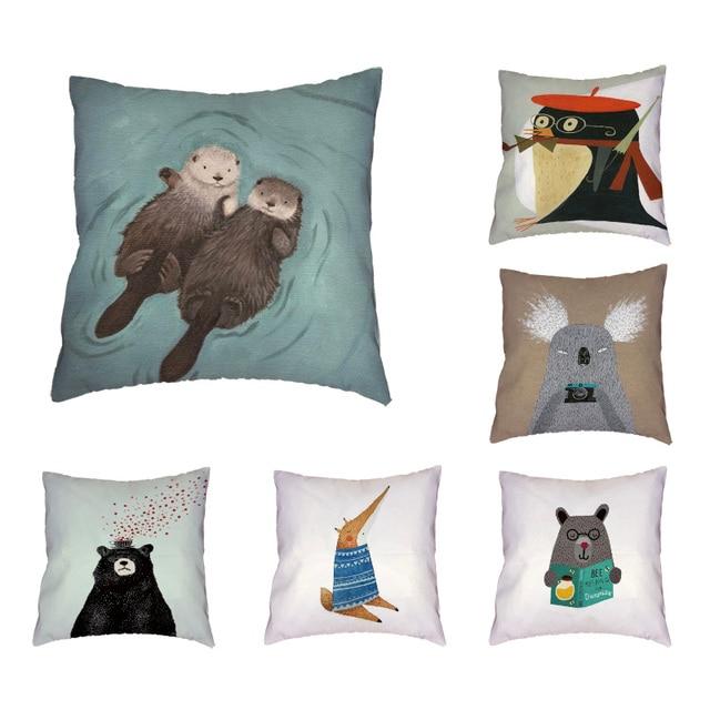 Animals Cheap Cushion Cover Otter Penguin Thinking Fox