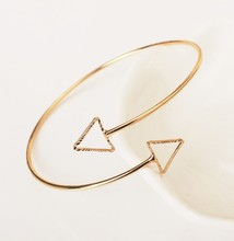 European and American ornaments extremely simple fashion copper hollow triangle arm ring jewelry wholesale