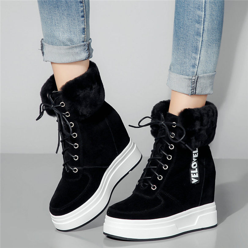 US $81.9 58% OFF|Lace Up Creepers Trainers Shoes Women Cow Leather High Heel Ankle Boots Wedges Platform Rabbit Fur Pumps Winter Punk Sneakers in