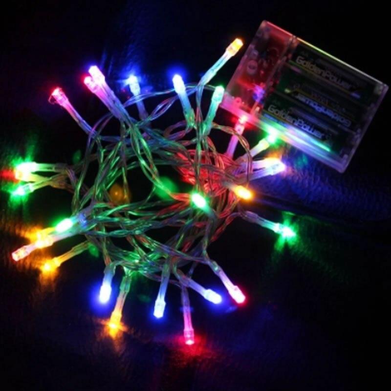 2 м 3 м 4 м 5 м 10 м светодиодный Сказочный свет 3* AA на батарейках водонепроницаемые рождественские огни для праздничное украшение для вечеринки, свадьбы - Испускаемый цвет: Multicolor