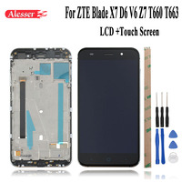 Alesser For ZTE Blade X7 D6 V6 Z7 T660 T663 LCD Display and Touch Screen Replacement Phone Accessories+Tools+Adhesive With Frame