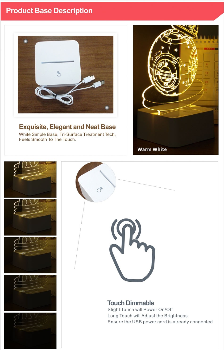 CNHIDEE USB Novelty 3D Visual Night Lights Star Wars Robort BB-8 Shaped Touch Table Desk Lamp Bubling Light as Creative Gifts (8)