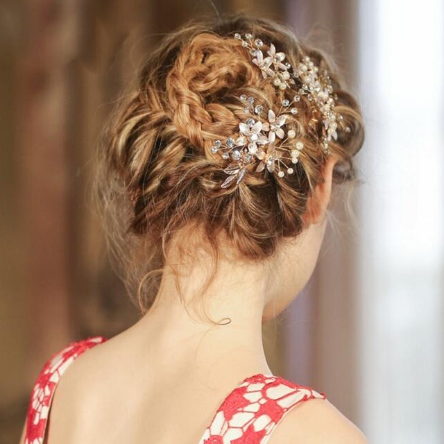Vintage Gold Leaves Bridal Hair Combs Wedding Accessories Retro Bride Headbands Hairpins Prom Headpieces
