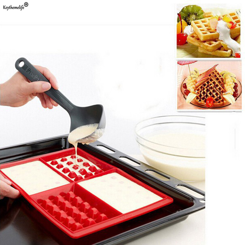 Waffle Mold Maker Pan Microwave Baking Molds Waffles Cake Chocolate Pan Silicone Cookie Cake Muffin Mould Tool C