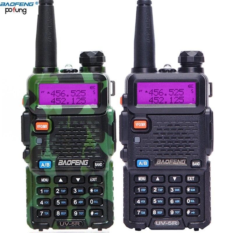 2 Pcs BaoFeng UV 5R 10km Walkie Talkie VHF UHF 136 174Mhz 400 520Mhz Dual Band