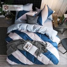 Liv-Esthete Blue White Striped Bedding Set Single Double Queen King Bed Linen Soft Duvet Cover Flat Sheet Pillowcase For Adult