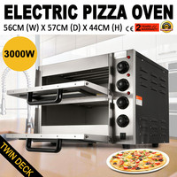 3000W Pizza Baking Oven Stainless Steel Double Deck