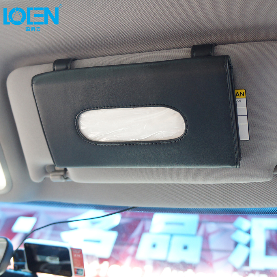 Universaalne PU nahast auto päikesevarju koe kasti slaidikate - Auto salongi tarvikud - Foto 2