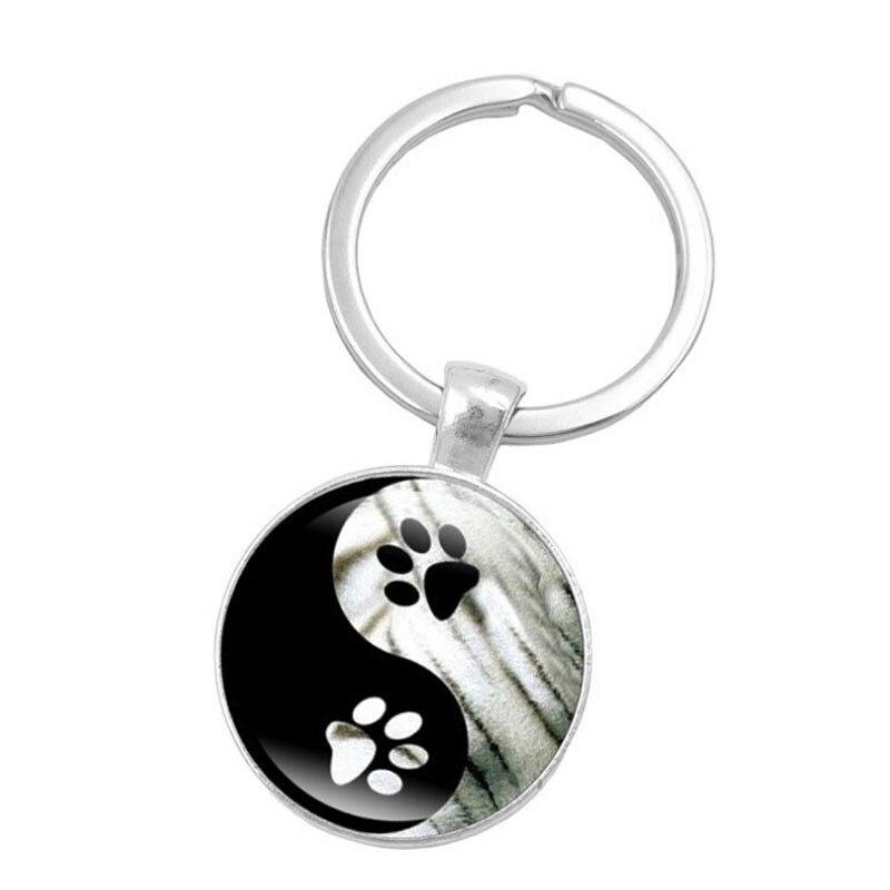 Jewelry Dog Paw Glass Keychain Paw Print Women Men Keychain Paw and Footprint keychain Gift for Dog Lover Gift Drop Shipping