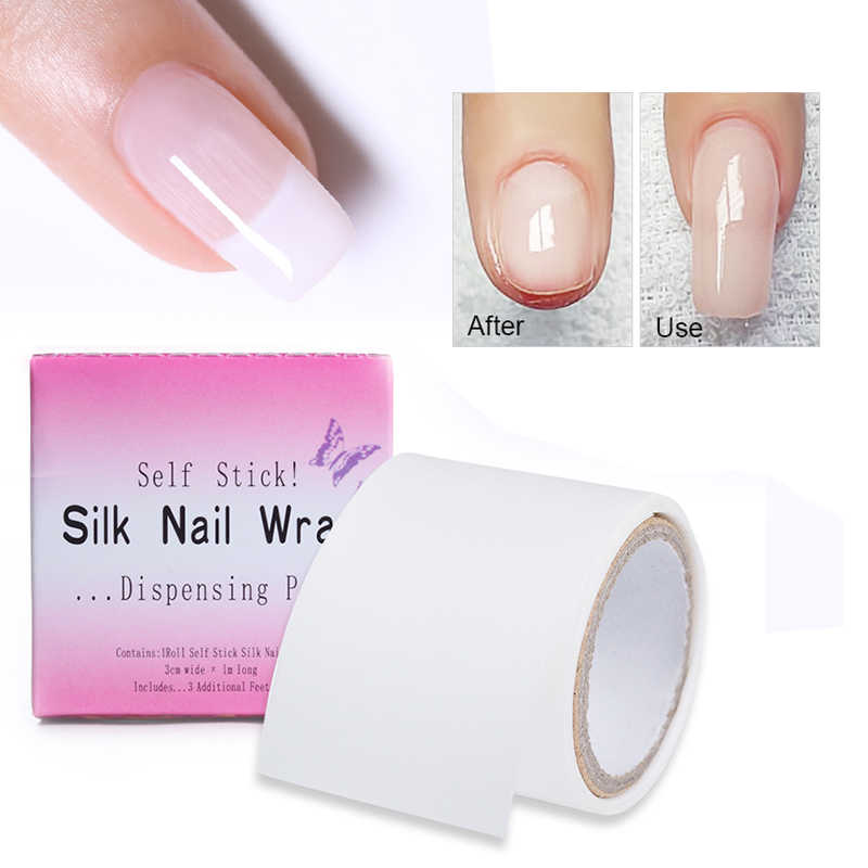 Nail Wraps Reinforce Fiberglass Adhesive Silk White UV Gel Acrylic Nail Protector Building Extension Form Nail Art Tools