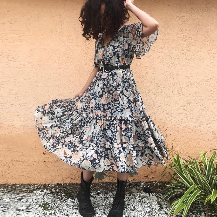 1da3dfc15689f TEELYNN Boho Cardigan lilac floral print blouse sexy long summer blouse  beach wear Hippie Gypsy blouses for women boho blusas