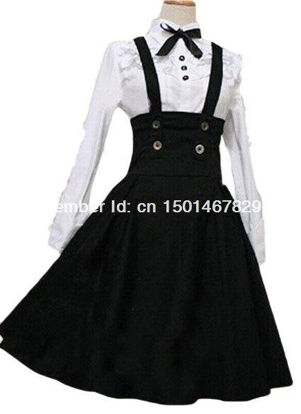 Haute Dress Coton Et Lovely Pas Qualité Noir Lolita Blanc Cher 4rz4q