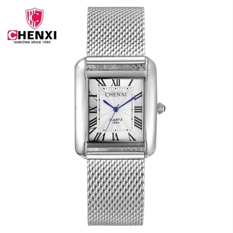 CHENXI Stainless Steel Mesh Belt Business Men Quartz Watch Men Square Dial Roman Numerals Life Waterproof Wristwatch PENGNATATE