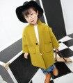 Новый Осень Зима Clothing Корейские Девушки Дети Чистые Шерстяные Пальто Дети Clothing Зеленый