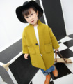 New Autumn Winter Clothing Korean Girls Children Pure Woolen Coat Kids Clothing Green