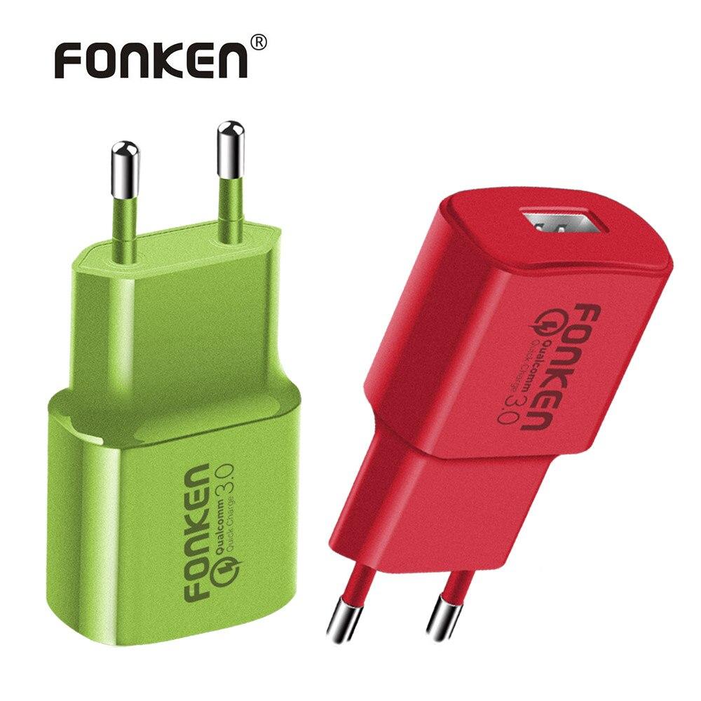 FONKEN Coloré Rapide Chargeur Charge Rapide 3.0 USB Chargeur 18 w Rapide De Charge QC3.0 QC2.0 Adaptateur pour Mobile Téléphone Chargeur