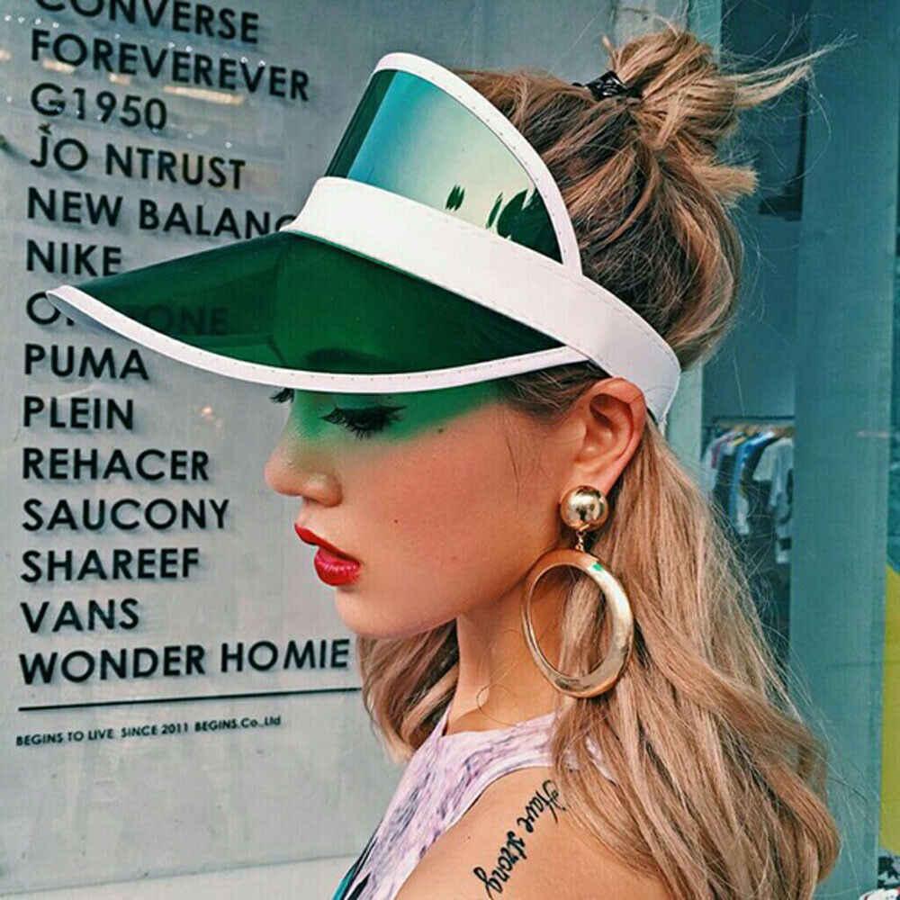 الصيف النساء للجنسين قبعة الشمس الحلوى اللون شفافة فارغة أعلى البلاستيك PVC ظلة قبعة قبعات لا تغطي الرأس بالكامل دراجة الشمس قطرة الشحن