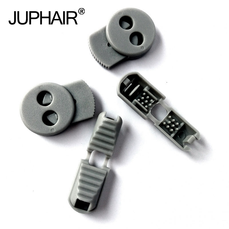 JUP 1-50 Sets Silver Gray Buckle Elastic Shoes Buckles Hole Plastic Stopper Toggle Clip Apparel Shoelaces Sportswear Accessorie bronze silver gold buckles shoes slippers sandals shoes strap laces clothing bag 8mm belts buckle clip 500pcs lot free shipping