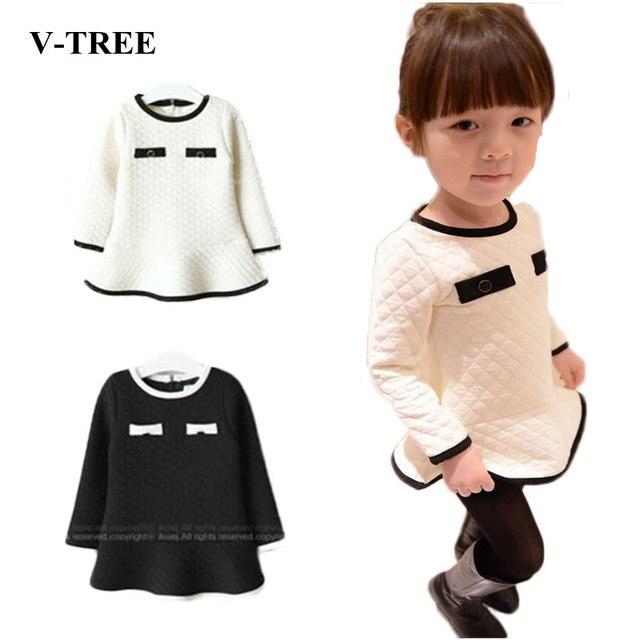 V-TREE Зима девочка платье воздушный хлопок платье для девочек с длинными рукавами платье принцессы детская одежда дети платья для девушки