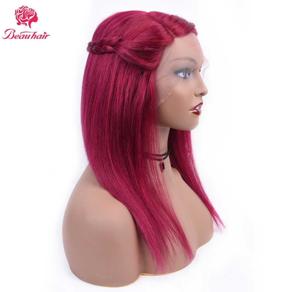 Beau волосы бразильские кружевные передние человеческие волосы парики для женщин remy волосы прямой парик с детскими волосами Полный конец #118 Цвет 130% Плотность