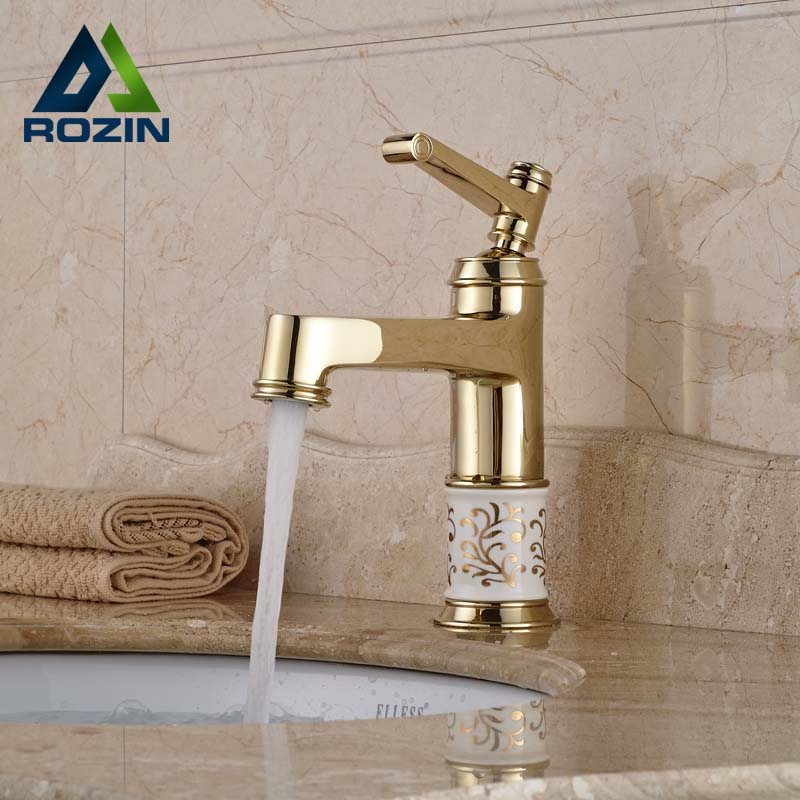ФОТО Luxury Golden Brass Bathroom Vessel Sink Mixer Faucet Deck Mount One Hole Lavatory Sink Water Taps