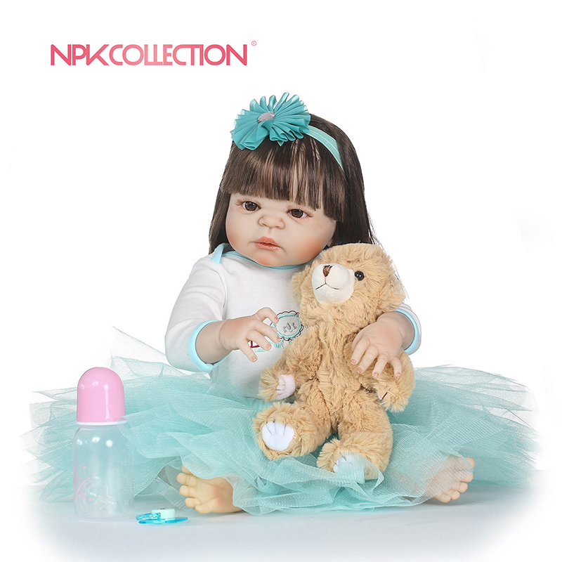 NPK New Born Baby Girl Doll Toy 23'' Realistic Reborn Dolls Silicone Vinyl Full Body Alive bebe Boneca Reborns npk hot sale reborn baby dolls realistic girl princess 23 inch baby dolls alive reborns toddler bebe washable toy for kids gifts