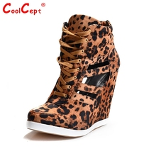 Women Round Toe wedges Shoes Sexy Leopard Platform Sandals Gladiator Zipper Brand Shoes Woman Heeled Pumps Size 35-46 B060