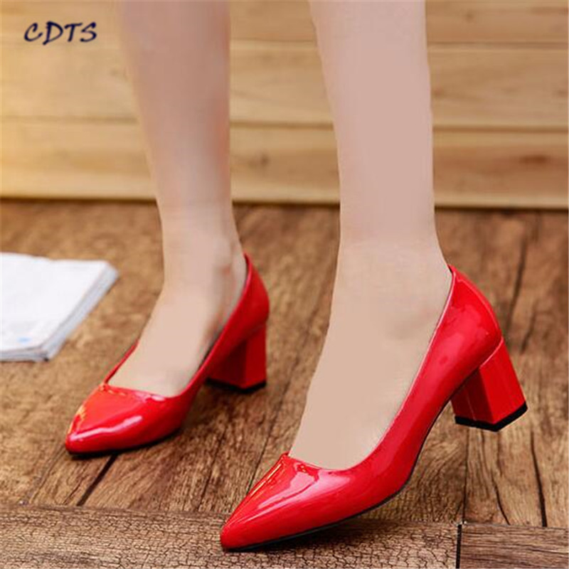 CDTS Small Yards:31 32 33 34 Plus:44 45 spring/autumn pointed toe shallow mouth single shoes female Med thick heel women pumps flock women flats 2017 pointed toe ladies single shoes fashion shallow casual shoes plus size 40 43 small yards 33 sapatos