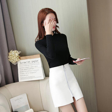 2019 Sexy Fashion High Waist Zip Faux Leather Short Pencil Bodycon PU Mini Skirt New Solid White Skirt zip front pu skirt